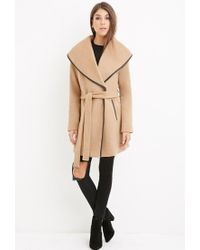 Forever 21 Natural Contemporary Belted Wool-blend Coat