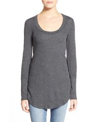 Splendid | Gray Long Sleeve Thermal Tunic Tee | Lyst