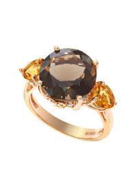 Effy | Metallic 14k Rose Gold Smoky Quartz And Citrine Ring With Diamond Accents | Lyst