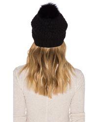 Diane von Furstenberg   Black Chunky Hat With Fox Fur Pom-pom   Lyst