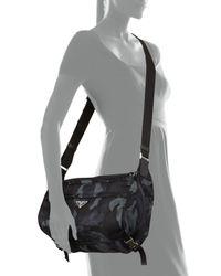 Prada Blue Camo Nylon Medium Messenger Bag for men