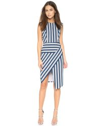 Michelle Mason - Blue Asymmetrical Stripe Dress - Lyst