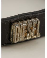 DIESEL | Black Leather Bracelet for Men | Lyst