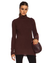 Rick Owens Red Fisherman Turtle Neck Wool Sweater