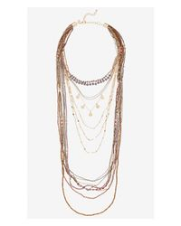 Express | Metallic Nested Seedbead And Mixed Chain Necklace | Lyst