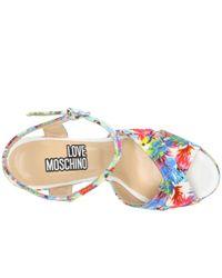 Love Moschino   White Jungle Wedge Heels   Lyst