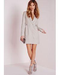 Missguided Gray D-ring Blazer Dress Grey