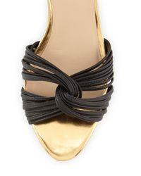 Loeffler Randall Black Anya Snake-Print Demi-Wedge Sandal