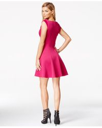 Guess Pink V-neck Fit & Flare Dress