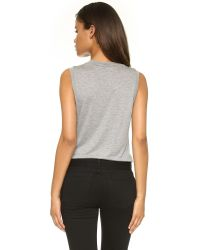 T By Alexander Wang | Gray Classic High Neck Flared Tank | Lyst