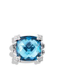 David Yurman | Metallic Cushion On Point Ring with Hampton Blue Topaz and Diamonds | Lyst
