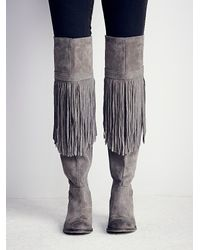 Free People | Gray Fp Collection Womens Can T Stop Fringe Over The Knee Boot | Lyst