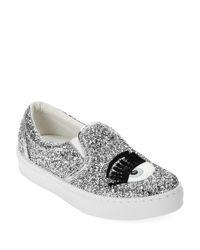 Chiara Ferragni Gray Flirting Sequinned Slip-On Sneakers