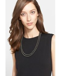 St. John | Gray Signature Faux Pearl Necklace - Ruthinium/ Grey Pearl | Lyst