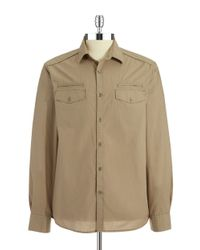 Kenneth Cole | Natural Solid Military Sportshirt for Men | Lyst