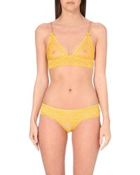 Stella McCartney | Yellow Gliding Floral-lace Bra | Lyst