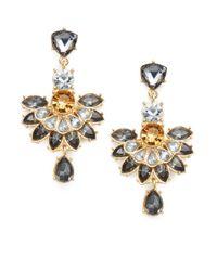 Cara Couture | Metallic Jeweled Fan Drop Earrings | Lyst