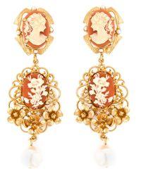Dolce & Gabbana | Metallic Cameo Pearl Earrings | Lyst