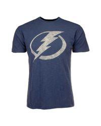 47 Brand Blue Mens Shortsleeve Tampa Bay Lightning Scrum Logo Tshirt for men