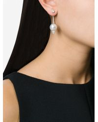 Delfina Delettrez - Metallic Diamond And Pearl 'piercing' Earring - Lyst