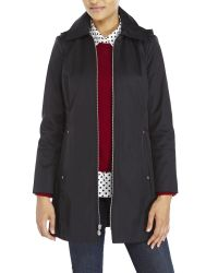 Anne Klein | Black Zip Front Rain Coat | Lyst