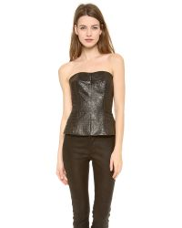 Yigal Azrouël | Black Reptile Leather Bustier | Lyst