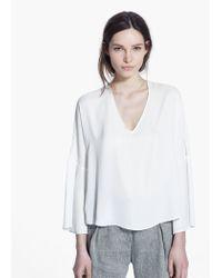Mango White Ruffled Sleeve Blouse
