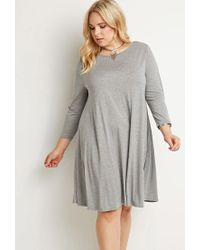 Forever 21 - Gray Plus Size Cutout-back Trapeze Dress You've Been Added To The Waitlist - Lyst