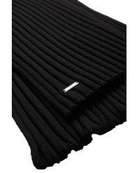 HUGO | Black New Wool Knit Scarf 'zappo' In Rib Knit for Men | Lyst