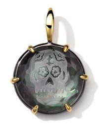 Ippolita Metallic Black Sterling Silver And 18k Gold Intaglio Skull Charm