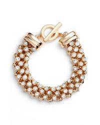 Anne Klein | Metallic 'drama' Crystal Studded Bracelet | Lyst