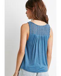 Forever 21 - Blue Floral Crochet-trimmed Tank - Lyst