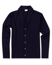 Sunspel | Black Men's Vintage Wool Shawl Neck Cardigan In Navy for Men | Lyst