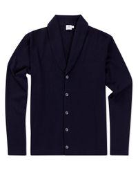 Sunspel - Black Men's Vintage Wool Shawl Neck Cardigan In Navy for Men - Lyst
