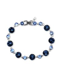 Givenchy | Silvertone Swarovski Denim Blue And Light Sapphire Crystal Link Bracelet | Lyst