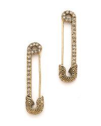 House of Harlow 1960 Metallic Safety Pin Earrings with Sparkle