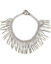 Saint Laurent - Metallic Feather-fringed Necklace-colorless - Lyst
