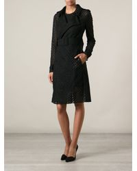 Zuhair Murad Black Honeycomb Embroidered Trench Coat