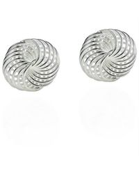 Aeravida | Metallic Classic 10mm Shiny Weave Knot Sterling Silver Post Earrings | Lyst