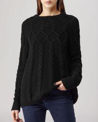 Reiss Black Sweater - Isa Cable Knit