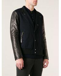 Giorgio Armani Black Bi-colour Bomber Jacket for men