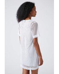 TOPSHOP White Mesh Overlay Tshirt Dress