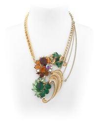 Maria Zureta - Metallic Green & Amber Necklace - Lyst