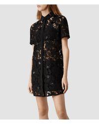AllSaints Black Pip Shirt Dress