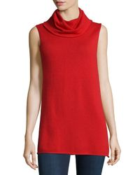 Neiman Marcus | Red Cashmere Sleeveless Cowl Sweater | Lyst