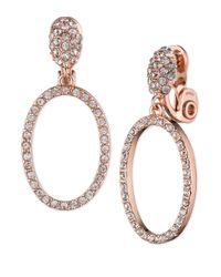 Anne Klein | Metallic Crystal Drop Circle Clip-on Earrings | Lyst