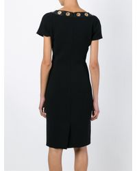 Boutique Moschino - Black Eyelets Trim Fitted Dress - Lyst