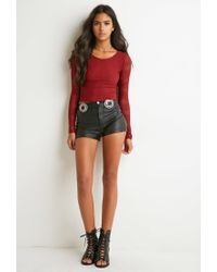 Forever 21 - Red Perforated Geo-patterned Top - Lyst
