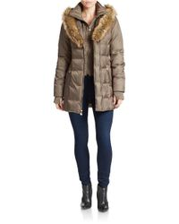 Betsey Johnson | Brown Faux Fur-trimmed Puffer Coat | Lyst