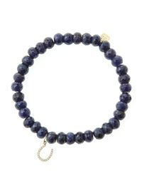 Sydney Evan - Blue 6Mm Faceted Sapphire Beaded Bracelet With 14K Yellow Gold/Diamond Medium Hamsa Charm (Made To Order) - Lyst